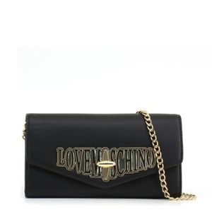 Love Moschino Black Leather Front Flap Clutch Bag
